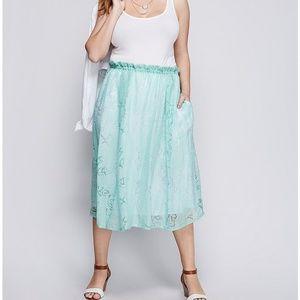 Lane Bryant Sheer Burnout Circle Skirt